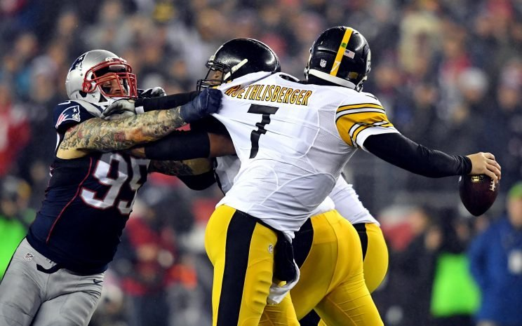 Pittsburgh Steelers quarterback Ben Roethlisberger (7) is pressured by Pittsburgh Steelers outside linebacker Jarvis Jones (95) during the first quarter in the 2017 AFC Championship Game at Gillette Stadium. Mandatory Credit: James Lang-USA TODAY Sports