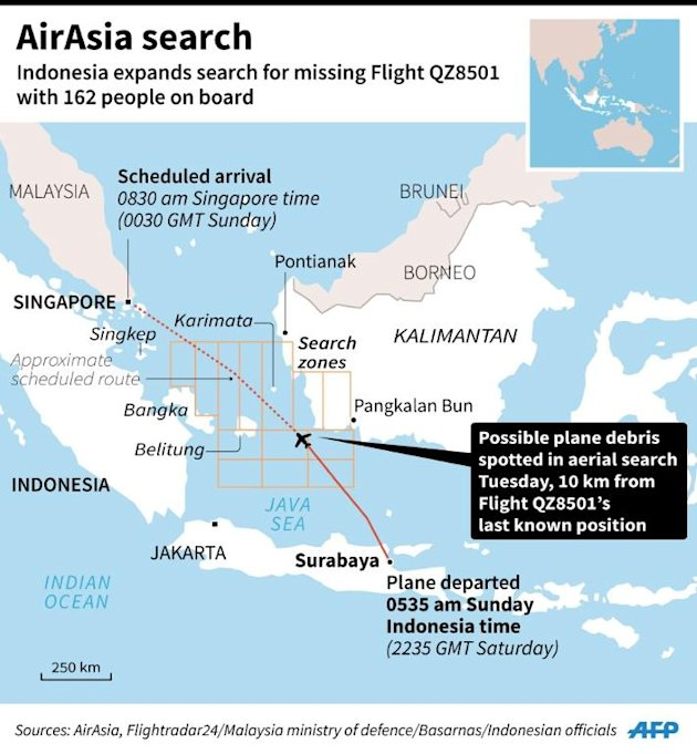 Updated map showing the search zones for the missing AirAsia Flight QZ8501 (click for larger version)