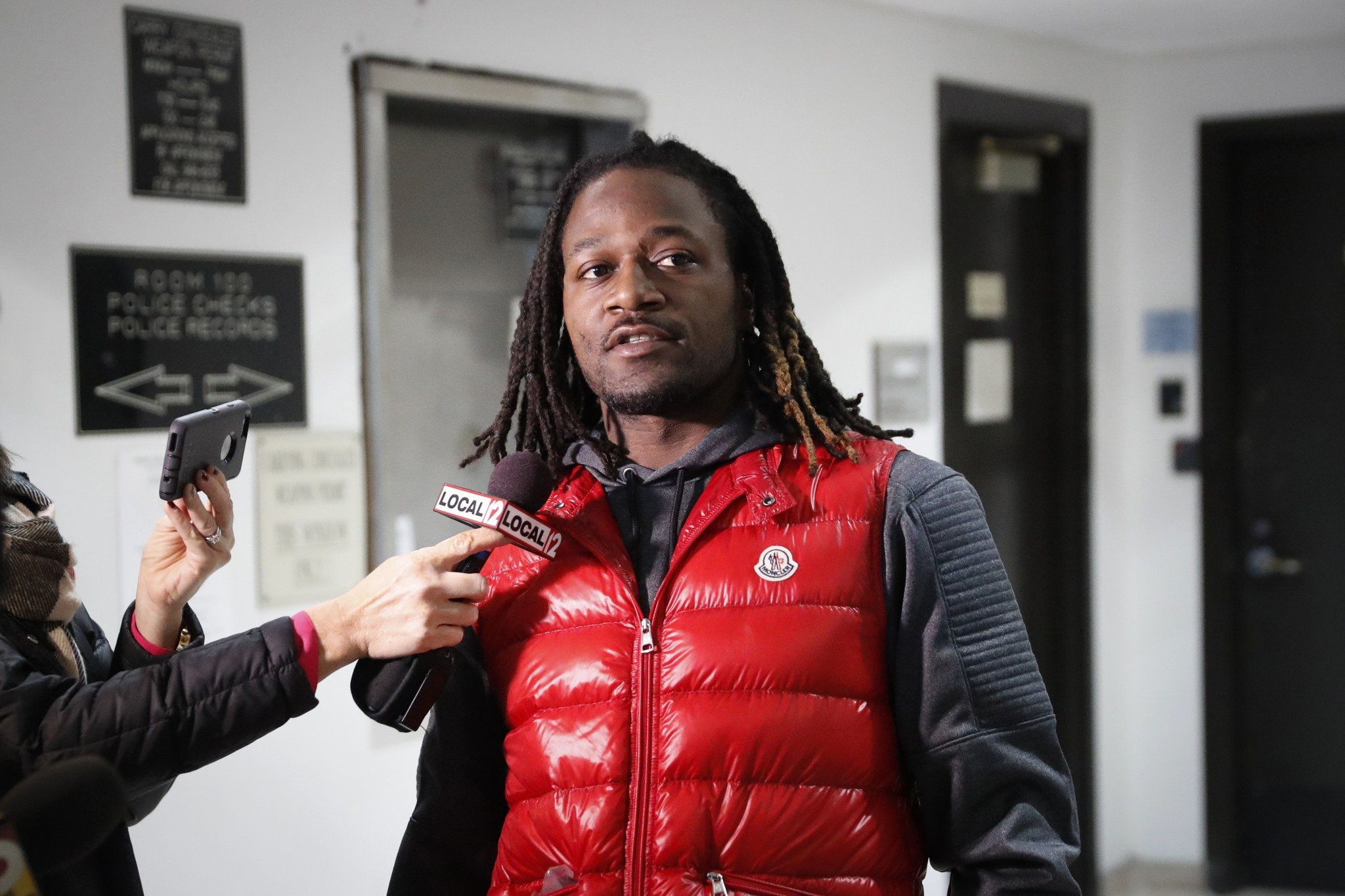 Adam Jones talks to reporters after being released from jail earlier this month. (AP)