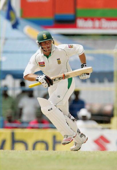 GUYANA, WEST INDIES - APRIL 3: Mark Boucher of South Africa hits out during day four of the first Test match between West Indies and South Africa on April 3, 2005 in Guyana, West Indies. (Photo by Tou