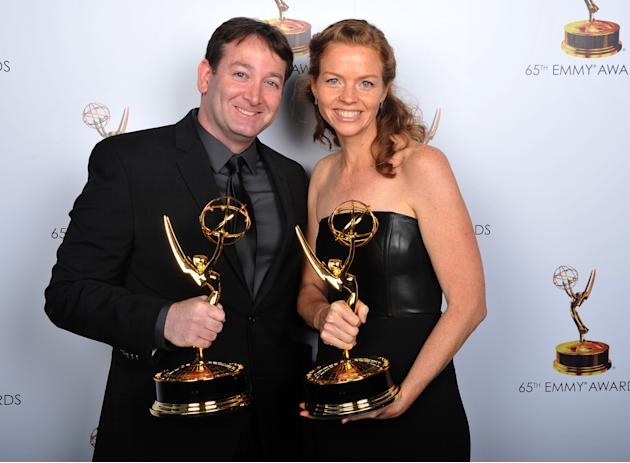 David Rogers, left, and Claire Scanlon pose for a portrait at the 2013 Primetime Creative Arts Emmy Awards, on Sunday, September 15, 2013 at Nokia Theatre L.A. Live, in Los Angeles, Calif. (Photo by V