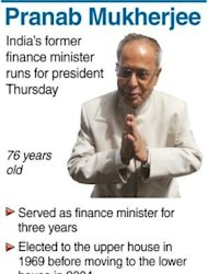 Graphic profile of India's former finance minister Pranab Mukherjee, set to be elected India's new president