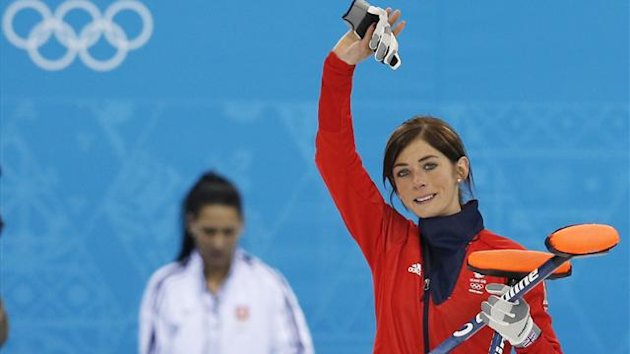 British skip Eve Muirhead celebrates winning bronze