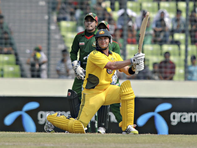 Australia's Shane Watson plays a shot during their second one-day international cricket match against Bangladesh in Dhaka, Bangladesh, Monday, April 11, 2011. Australia won the first match of the
