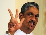 "Former Sri Lankan army chief Sarath Fonseka addresses journalists in Colombo. Fonseka, who was released from jail on May 21, has renewed his fight with President Mahinda Rajapakse with a call to defeat his ""corrupt"" government"