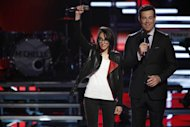 Michelle Chamuel with Carson Daly on 'The Voice' -- NBC