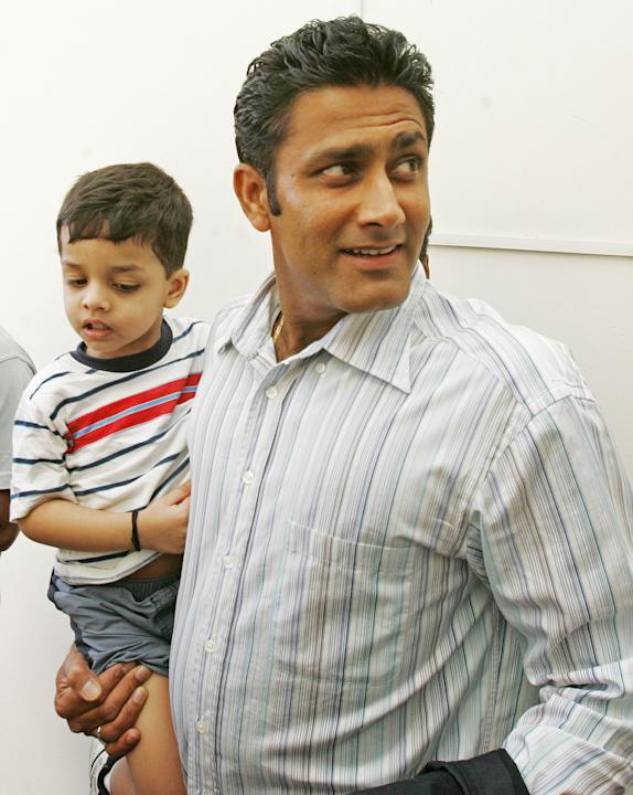 Indian cricketer Anil Kumble, with his s