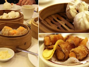 Clockwise from left: a table of dim sum dishes, pork buns, and deep-fried shrimp wrapped in bacon.
