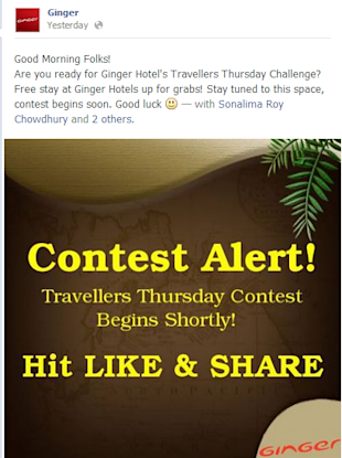 Social Media Strategy Review: Hospitality Industry image Ginger Hotel Contest Facebook Post