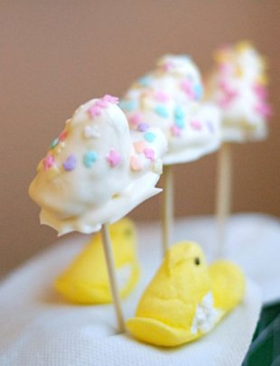 White Chocolate Peeps Pops