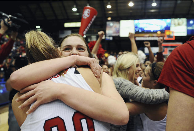 FILE - In this March 11, 2014 file photo, South Dakota's Bridget Arens, right, and Margaret McCloud celebrate their 82-71 win over Denver at their NCAA women's basketball championship game at