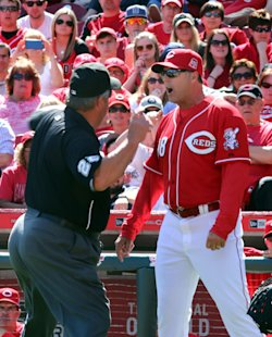 Reds manager Bryan Price is ejected by umpire Joe West during an April 12 game. (AP)