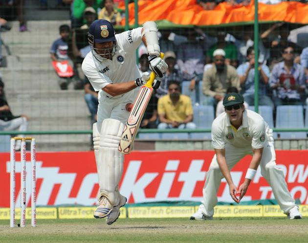 Sachin Tendulkar of India in an action against Australia during the 4th test match of Border Gavaskar Trophy, at Feroz Shah Kotla Stadium in Delhi on March 23, 2013. P D Photo by P S Kanwar
