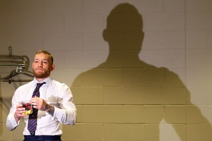 Conor McGregor of Ireland warms up in his locker room prior to his lightweight title fight against Eddie Alvarez during the UFC 205 event at Madison Square Garden on November 12, 2016 in New York City. (Photo by Ed Mulholland/Zuffa LLC/Zuffa LLC via Getty Images)