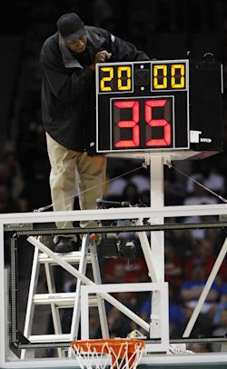 College basketball will likely trim its shot clock from 35 to 30 seconds next season. (AP)