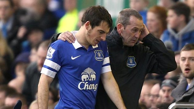 Leighton Baines is helped from the field of play after suffering an injury (PA Photos)