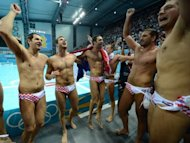 Croatia's players celebrate after the men's water polo gold medal match Croatia vs Italy at the London 2012 Olympic Games in London. Croatia beat Italy 8-6 to win the gold medal in the men's water polo competition at the Olympics on Sunday