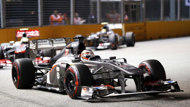 Sauber Formula One driver Hulkenberg races during the Singapore F1 Grand Prix in Singapore
