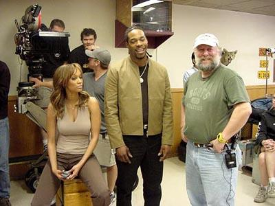 Tyra Banks and Busta Rhymes with director Rick Rosenthal on the set of Dimension's Halloween: Resurrection