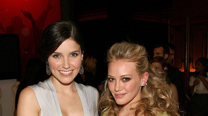 Sophia Bush and Hilary Duff attend the Herve Leger By Max Azaria Spring Collection Preview Party at Live! On Sunset on May 6, 2009 in West Hollywood.