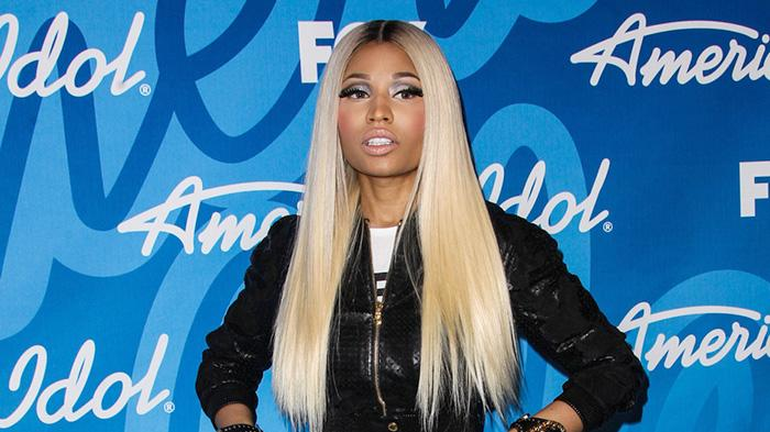 Nicki Minaj poses in the press room at the 'American Idol' Grand Finale held at Nokia Theatre L.A. Live in Los Angeles