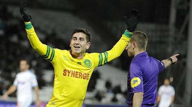 Nantes midfielder Alejandro Bedoya celebrates after scoring against Marseille at the Velodrome (AFP)