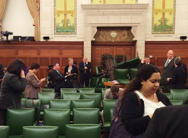 The Conservative Party caucus room is shown shortly after shooting began on Parliament Hill. (Reuters)