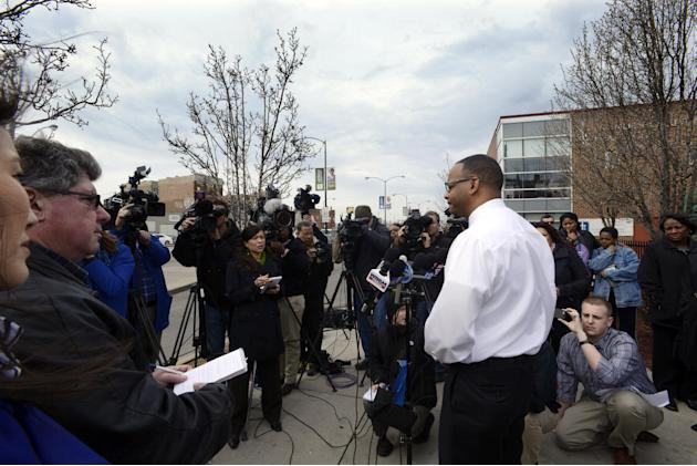 Lawndale Christian Health Center chief ministry officer James Brooks speaks during a press conference outside the center addressing the death of Dr. Jerry Umanos, a pediatrician at the center in Chica