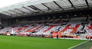 "Tributes are paid to victims of the Hillsborough disaster, as mosaics are formed by supporters around the stadium spelling out ""The Truth"", ""96"" and ""Justice"". before the English Premier League football match between Liverpool and Manchester United at Anfield in Liverpool"