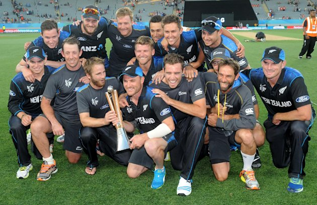 New Zealand after winning the Chappell Haddlee Trophy against Australia.