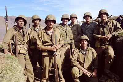Mark Ruffalo , Adam Beach , Martin Henderson , Nicolas Cage , Noah Emmerich (crouching) and Brian Van Holt (far right) in MGM's Windtalkers