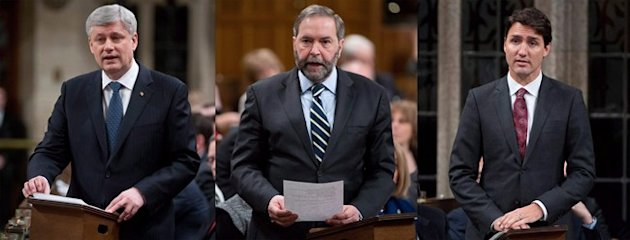 Canadian Prime Minister Stephen Harper, left to right, NDP leader Tom Mulcair and Liberal leader Justin Trudeau are shown in the House of Commons on Tuesday, March 24, 2015 in Ottawa. THE CANADIAN PRESS/Adrian Wyld