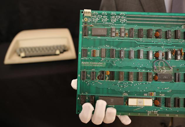 A Rare Apple-1 Computer On Display Before Auction At Christie's