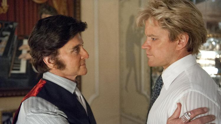 "This film image released by HBO shows Michael Douglas, left, as Liberace, and Matt Damon, as Scott Thorson in a scene from ""Behind the Candelabra."" Nominations for the 65th annual Primetime Emmy Nominations were to be announced Thursday, July 18, 2013. (AP Photo/HBO, Claudette Barius)"