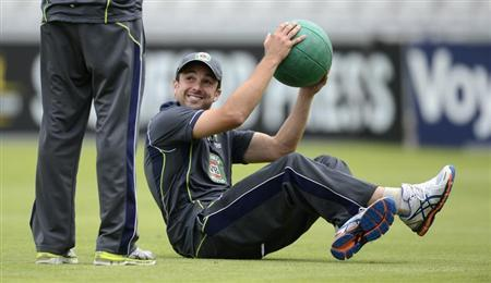 Australia's Ed Cowan smiles during a training session before Thursday's third Ashes cricket test match against England in Manchester