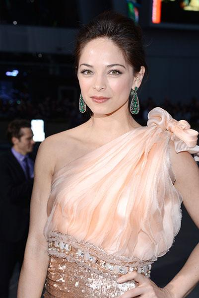 Kristin Kreuk wearing dazzling emeralds