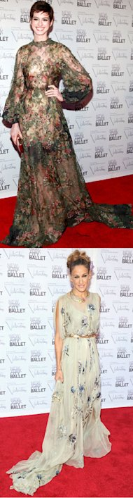 FASHION FIGHT! Anne Hathaway v Sarah Jessica Parker in Valentino at NYC Ballet Gala