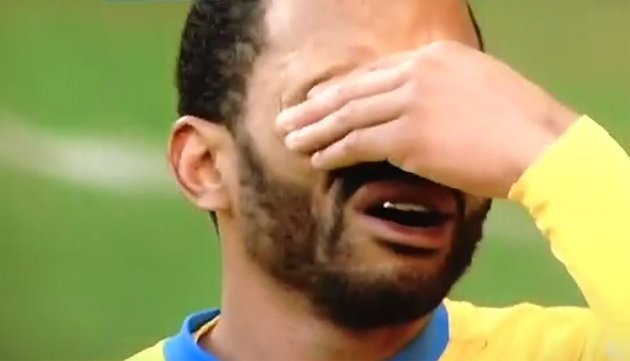 Jason Puncheon reacts to having hit perhaps the worst penalty in Premier League history