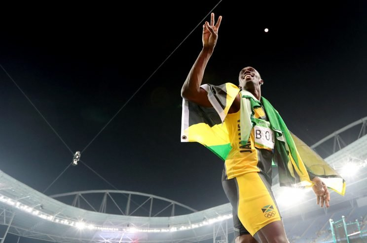 After his final Olympics race, Usain Bolt still had one more athletic feat left in him (AP)