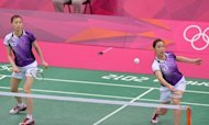 A picture taken on July 31, 2012 shows Kim Ha Na (L) and Jung Kyung-Eun of South Korea at the London 2012 Olympic Games in London on July 31, 2012. South Korean badminton authorities on Wednesday reduced bans for four players accused of trying to lose matches at the London Olympics from two years to six months after an appeal