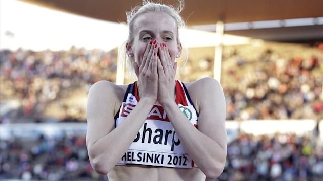 Lynsey Sharp of Britain reacts after taking second place at the women's 800 metres final at the European Athletics Championships in Helsinki (Reuters)
