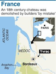 Graphic map of Yvrac where Polish builders destroyed an 18th century chateau in southwestern France, apparently by mistake.