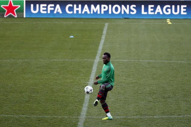AC Milan's Michael Essien takes part in a training session at the Vicente Calderon stadium in Madrid