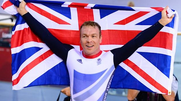 Sir Chris Hoy celebrates after winning the keirin gold at the London 2012 Olympic Games on August 7