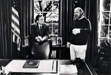 Michael Douglas and director Rob Reiner on the set of Columbia's American President