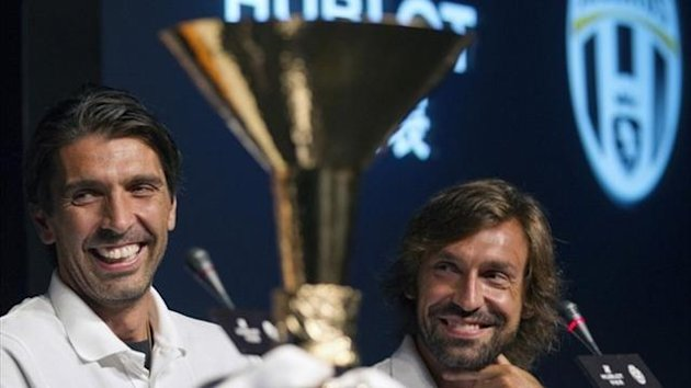 Gigi Buffon and team-mate Andrea Pirlo
