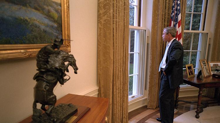 "President Bush looking out the window from the Oval Office as seen on ""George W. Bush:  The 9/11 Interview."""