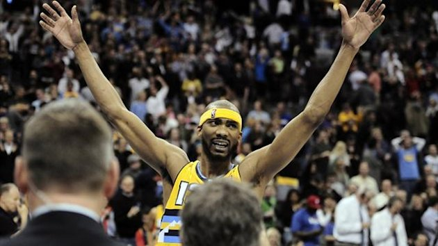 Denver Nuggets' Corey Brewer celebrates beating the Philadelphia 76ers (Reuters)