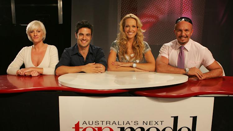 Victoria Fisher (judge), Georges Antoni (judge), Ericka Heynatz (host), and Alex Perry (judge) on Australia's Next Top Model.