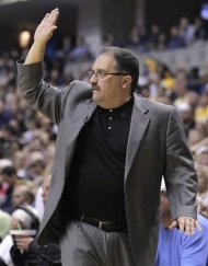 Orlando Magic head coach Stan Van Gundy calls a play in the first half of an NBA first-round playoff basketball game against the Indiana Pacers in Indianapolis, Saturday, April 28, 2012. (AP Photo/Michael Conroy)